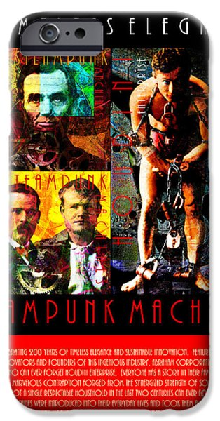 Butch Cassidy iPhone Cases - A Word From The CEO Steampunk Machines Celebrating 200 Years 20140515 Red iPhone Case by Wingsdomain Art and Photography