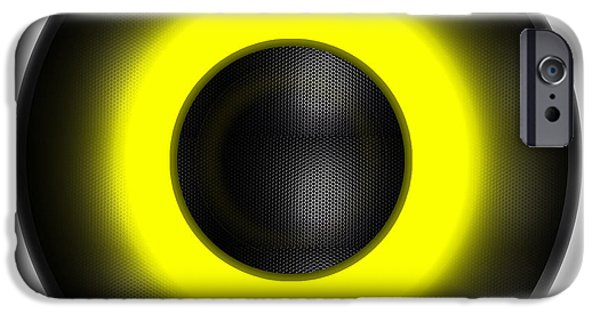 Technology iPhone Cases - A Yellow Neon Speaker iPhone Case by Brian Swanke