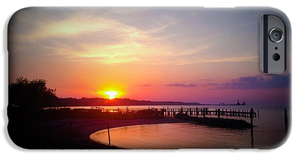Yorktown Virginia iPhone Cases - A Yorktown Sunset iPhone Case by Linda Mesibov