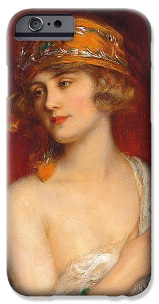 Young Paintings iPhone Cases - A Young Beauty iPhone Case by Albert Lynch