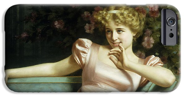 Girls In Pink iPhone Cases - A Young Beauty iPhone Case by Vittorio Reggianini