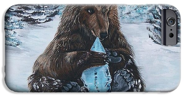 Young Paintings iPhone Cases - A Young Brown Bear iPhone Case by Sharon Duguay