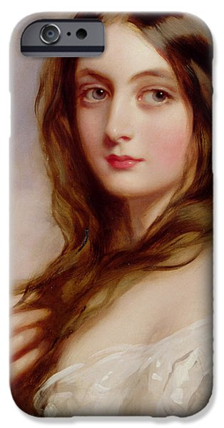 Auburn iPhone Cases - A young girl in a white dress iPhone Case by Richard Buckner