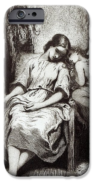 Angels Drawings iPhone Cases - A Young Woman Dozing with an Angel iPhone Case by Charles Nodier