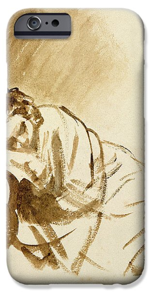 Model iPhone Cases - A Young Woman Sleeping Hendrijke Stoffels C.1654 Brush & Brown Wash On Paper iPhone Case by Rembrandt Harmensz. van Rijn