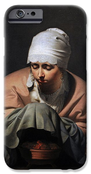 Allegory iPhone Cases - A Young Woman Warming Her Hands Over A Brazier Allegory Of Winter, C. 1644-1648, By Cesar Boetius iPhone Case by Bridgeman Images