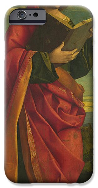 Youthful iPhone Cases - A Youthful Saint Reading iPhone Case by Attributed to Gerolamo da Santacroce