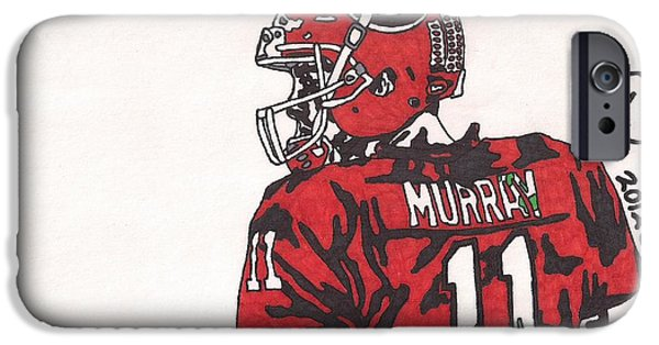 Aaron Drawings iPhone Cases - Aaron Murray iPhone Case by Jeremiah Colley