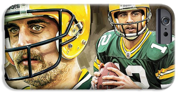Quarterback iPhone Cases - Aaron Rodgers Green Bay Packers Quarterback Artwork iPhone Case by Sheraz A