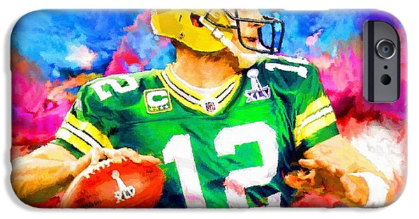 Recently Sold -  - Abstract Digital iPhone Cases - Aaron Rodgers Green Bay Packers Football Art Painting iPhone Case by Andres Ramos