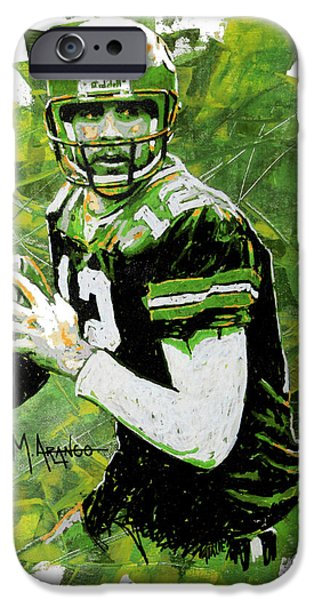 Champion Mixed Media iPhone Cases - Aaron Rodgers iPhone Case by Maria Arango