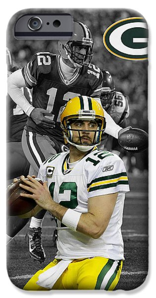 Shoe iPhone Cases - Aaron Rodgers Packers iPhone Case by Joe Hamilton