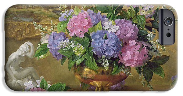 Figurines iPhone Cases - Ab211b Still Life Of Hydrangeas And Lilacs iPhone Case by Albert Williams