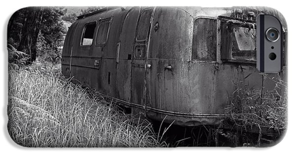 Trailer iPhone Cases - Abandoned Airstream in the Jungle iPhone Case by Edward Fielding