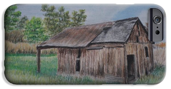 Old Barns Pastels iPhone Cases - Abandoned Barn iPhone Case by Jane Hazell