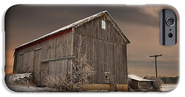 Red Barn In Winter iPhone Cases - Abandoned Barn near Freeport iPhone Case by Tom Phelan
