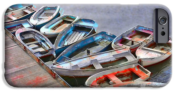 Row Boat Digital iPhone Cases - Abandoned Boats iPhone Case by Daniel Hagerman