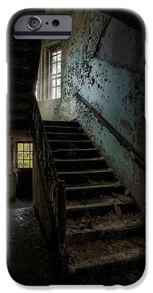 Abandoned Building - Haunting Images - Stairwell in building 138 iPhone Case by Gary Heller