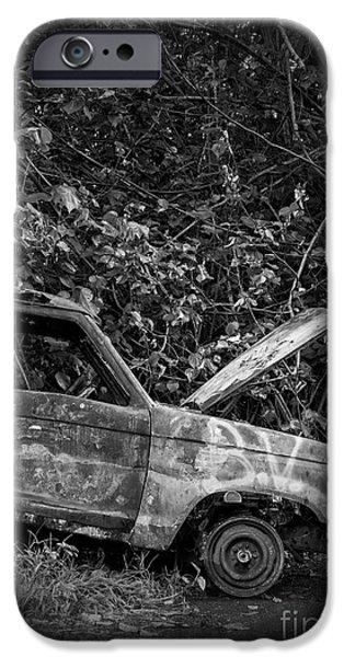 Raining iPhone Cases - Abandoned Car Road to Hana Maui iPhone Case by Edward Fielding