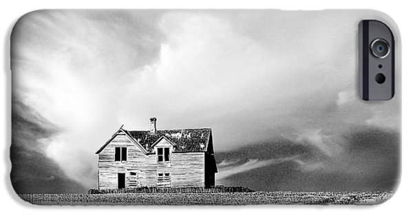 Field. Cloud iPhone Cases - Abandoned Farm House in Stubble Field iPhone Case by Donald  Erickson
