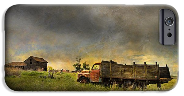 Dark Skies iPhone Cases - Abandoned Farm Truck iPhone Case by Theresa Tahara