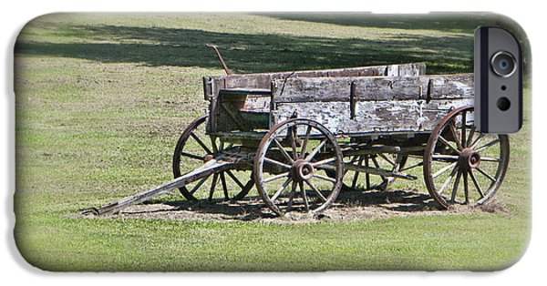Horse iPhone Cases - Abandoned farm wagon iPhone Case by Phyllis Taylor