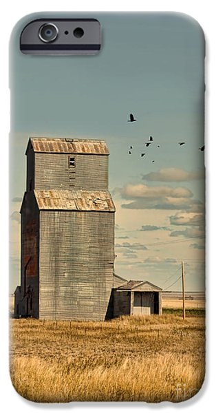 Recently Sold -  - Field. Cloud iPhone Cases - Abandoned Grain Elevator on the Prairie iPhone Case by Jill Battaglia