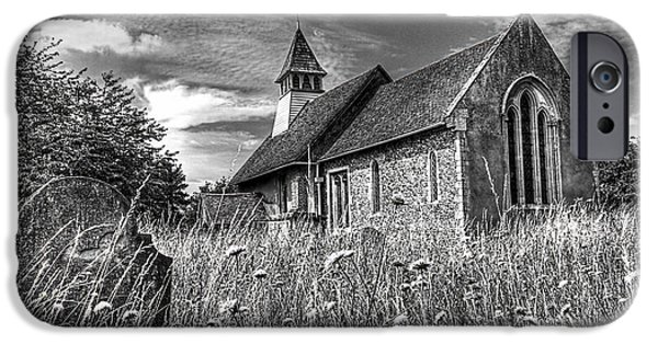 Headstones iPhone Cases - Abandoned Graveyard in Black and White iPhone Case by Gill Billington