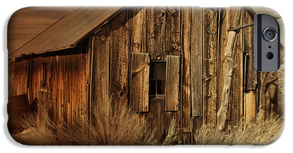 Cabin Window iPhone Cases - Abandoned in the West iPhone Case by Evie Carrier
