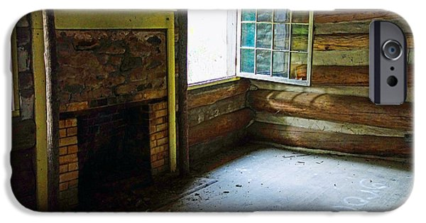 Cabin Window iPhone Cases - Abandoned Log Cabin Elkmont Old House Window Fireplace iPhone Case by Rebecca Korpita