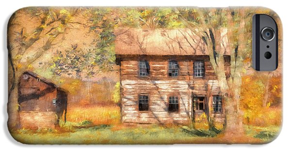 Cabin Window Digital Art iPhone Cases - Abandoned iPhone Case by Lois Bryan