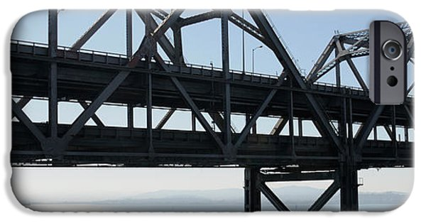 Oakland Bay Bridge iPhone Cases - Abandoned Old Bridge Viewed From San iPhone Case by Panoramic Images