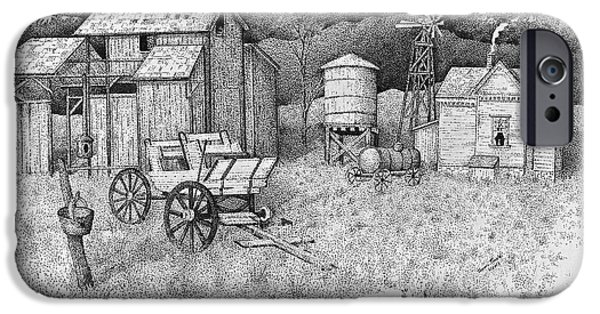 Best Sellers -  - Pen And Ink Of Barn iPhone Cases - Abandoned Old Farmhouse and Barn iPhone Case by Tammie Temple