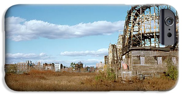 Rollercoaster Photographs iPhone Cases - Abandoned Rollercoaster In An Amusement iPhone Case by Panoramic Images