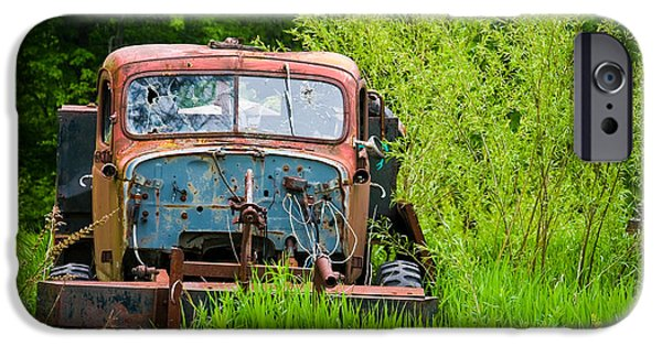 Overgrown iPhone Cases - Abandoned Truck in Rural Michigan iPhone Case by Adam Romanowicz