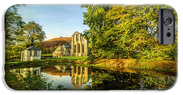 13th Century iPhone Cases - Abbey Lake Autumn iPhone Case by Adrian Evans