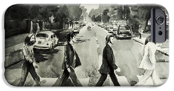 John Lennon Drawings iPhone Cases - Abbey Road iPhone Case by MB Art factory