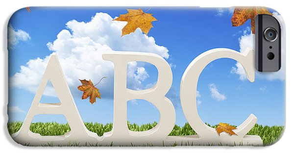Alphabet Learning iPhone Cases - ABC Letters With Autumn Leaves iPhone Case by Amanda And Christopher Elwell