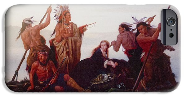 Raft iPhone Cases - Abduction of Boones Daughter iPhone Case by Karl Ferdinand Wimar