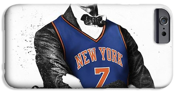 Abraham Lincoln Canvas iPhone Cases - Abe Lincoln in a Carmelo Anthony New York Knicks Jersey iPhone Case by Roly Orihuela