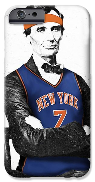 Abe Lincoln in a Carmelo Anthony New York Knicks Jersey iPhone Case by Roly Orihuela