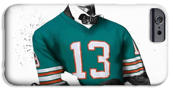 Dan Marino iPhone Cases - Abe lIncoln in a Dan Marino Miami Dolphins Jersey iPhone Case by Roly Orihuela