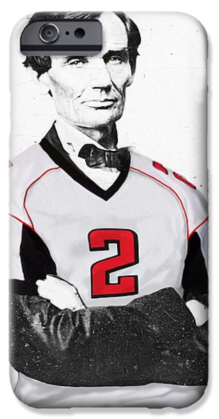 Abraham Lincoln Art iPhone Cases - Abe Lincoln in a Matt Ryan Atlanta Falcons Jersey iPhone Case by Roly Orihuela