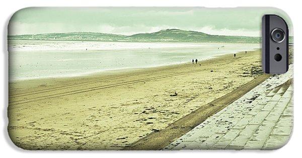 Ocean Panorama iPhone Cases - Aberafan beach iPhone Case by Tom Gowanlock
