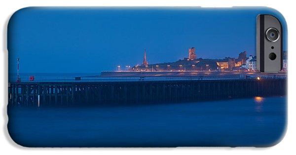 Beach Landscape iPhone Cases - Aberystwyth blue hour iPhone Case by Izzy Standbridge