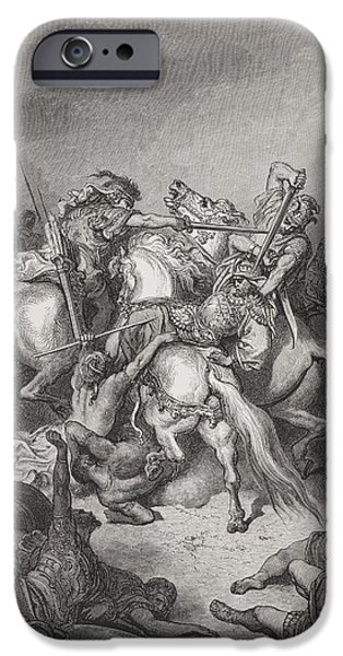The Horse Drawings iPhone Cases - Abishai Saves the Life of David iPhone Case by Gustave Dore