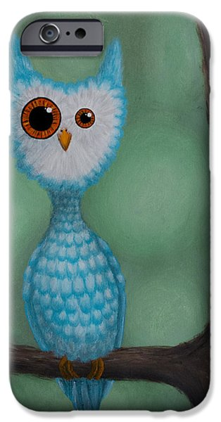 Abnormal Paintings iPhone Cases - Abnormal Owl iPhone Case by Lisa Tinsley