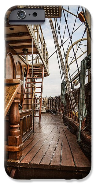 Historic Schooner iPhone Cases - Aboard The Tall Ship Peacemaker iPhone Case by Dale Kincaid