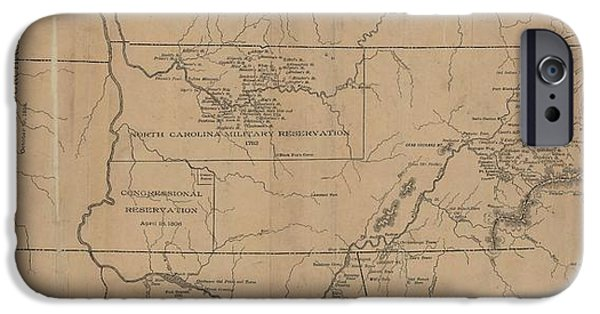 Tennessee Drawings iPhone Cases - Aboriginal Map of Tennessee iPhone Case by Cody Cookston