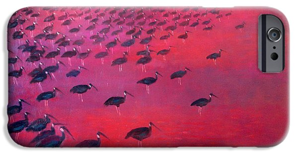 Allegoric iPhone Cases - About 250 White Shouldered Ibis Oil On Canvas iPhone Case by Charlie Baird